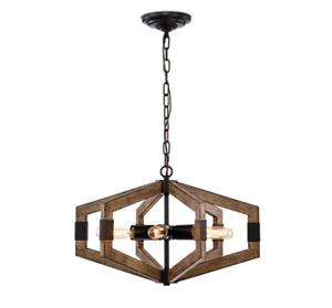 Warehouse of Tiffany Kraven Imitation Wood Grain 6-Light Abstract Chandelier NEW