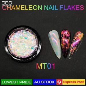 Chameleon Nail Flakes Duo Chrome Powder Polish Mirror Transparent Nail Art MT01