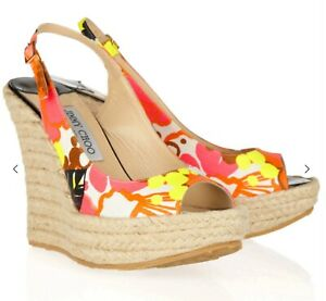 JIMMY CHOO AUTH $899 Women Tropical-Print Espadrille Wedge Polar Sandals Size 36