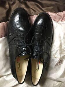 Orla KIely Clarks, Agatha Mock Croc Black Leather Shoes In Size 6.5