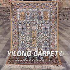 Yilong 2'x3' Garden Scene Handmade Carpet Small Hand Knotted Silk Area Rug 821B