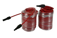 1 Pair 100 ft Solar Panel Extension Connector 10 AWG PV Cable Wire Red