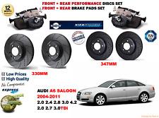 für Audi A6 Limousine 04-11 Vordere Hintere Performance GELOCHTE BREMSSCHEIBEN +