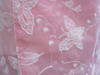 Vintage 1950s Flocked Pink Nylon w Butterflies & Flowers Fabric Made into Apron