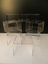 *10 MIXED SET*OF CLEAR ACRYLIC,PERSPEX STANDS,DISPLAY STANDS,PLINTHS,RISERS,SHOP