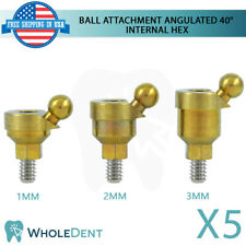 5x Angulated Ball Overdenture Attachment 40° Abutment Dental Implant Int Hex