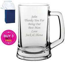 Personalised Engraved Beer Glass Tankard - Wedding Gift Best Man Usher Groomsman