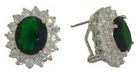 Princess Kate & Diana Emerald Earrings Swarovski Element Stones White Goldplate