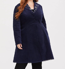 Torrid Hello Kitty Navy Blue Peacoat velvet metallic embroidered coat size 2