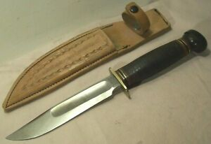1930's to 1940's~MARBLE'S IDEAL HUNTING & WWII FIGHTING KNIFE w/LEATHER SHEATH~