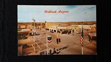 Route 66 Postcard AZ Holbrook Red Pegasus, Gas Coke Rx Camels Coffee Flag c.1959
