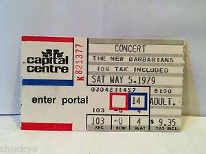 The New Barbarians Ticket Stub 5-5-1979 Capital Centre - Rare
