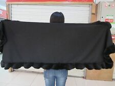 L'200CMLady Real Cashmere Cape with genuine Best  Mink Fur Trim all around black