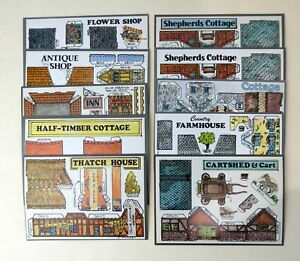 Fiddlers Green Construction Cards Houses Shops Buildings set of 10 OO Scale 1)