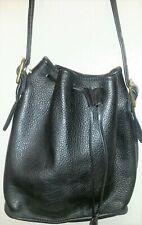 Vintage Women Bag M.London Black Pebble Leather Bucket Style Drawstring Closure