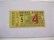 Nov 5,1950 Chicago Bears vs Detroit Lions Ticket Stub