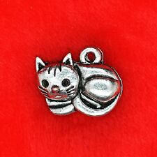 4 x Tibetan Silver Curled Up Cat Charm Pendant Jewelry Making Craft