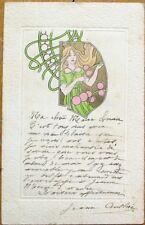 Art Nouveau 1903 Postcard - Woman w/Gold & Fancy Circle Designs