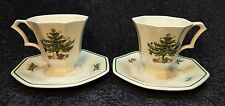 TWO Nikko Christmastime Footed Tea Cup and Saucer Sets 2 PERFECT!