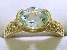R160- Genuine Solid 9K Yellow GOLD NATURAL Oval Aquamarine Solitaire Ring size N