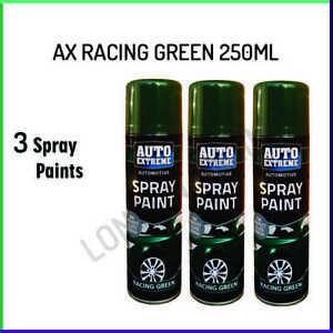 3x Racing Green Gloss Aerosol Spray Can Car Auto Extreme Spray Paint 250ml