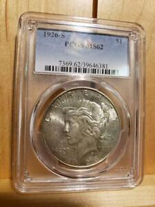 1926 S Peace Silver Dollar Semi-Key Date Blazed Luster MS62 and Free Shipping !