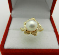 Beautiful 14k Yellow Gold FLOWER Style PEARL 7.5mm Ladies Ring size 5.75