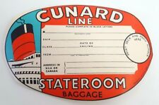 """Vintage 1950s Cunard Shipping Line """"Stateroom"""" Unused Luggage/ Baggage Label L19"""