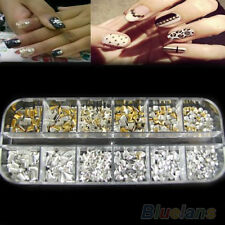 300Pcs Mixed Lots Punk 3D Nail Art Deco Rivet Studs Spikes DIY Accessories B1CU