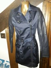 Navy Blue & Black Long Coat with Leather Sleeves Size 10 12 - BNWT