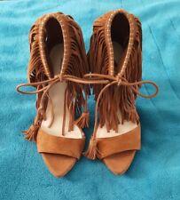 ZARA COLLECTION Brown Tan Tie Up Tassel Stilettos Heel 36 Boho Suede look