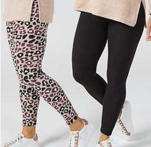 Cuddl Duds 2-Pack Fleecewear Leggings, Size S, Black/Animal Print, NEW