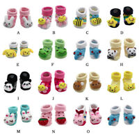 Cartoon Newborn Baby Girls Boys Anti-Slip Socks Slipper Shoes Boots Cotton Boot