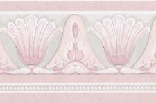 Lavender Purple Pink Shell Floral Teal Green Powder Bath room Wall paper Border