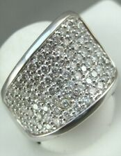 Modern Wide Pave Diamond 14K White Gold Pinky Band Right Hand Ring 17M Cr1685Ww1
