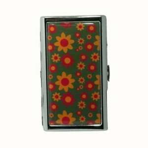 KING SIZE CIGARETTE CASE METAL MONEY CARD STORAGE RETRO FLORAL GREEN RED YELLOW