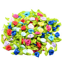 100 Satin Ribbon Tiny Rolled Rose Bud Flowers Sewing Appliques DIY Hairbands