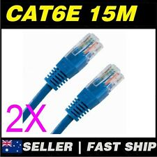 2x 15m Cat 6 Cat6 Blue Network LAN Cable Home NBN ADSL Phone PS4 Xbox TV