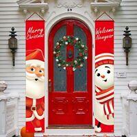 Merry Christmas Santa Snowman Banner Flag Wall Hanging Xmas Party Decor Ornament