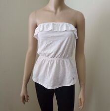 NWT Hollister Women Strapless Top Shirt Size Medium Ruffles Beige Blouse