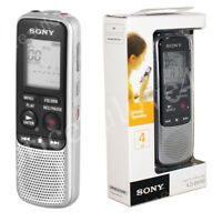 Sony ICD-BX140 Silver 4GB Dictation Machine Digital Voice Recorder Dictaphone