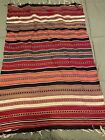 """Hand Woven Middle Eastern Kilim 25"""" x 38"""" VTG Weave Rug Striped Throw Rug Wool"""