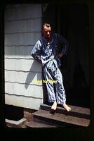 Blonde Man wearing Pajamas in the 1940's, Kodachrome Slide aa 7-29a