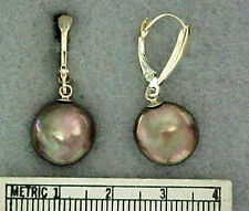 Genuine Bronze Coin Cultured Pearl 14K Yellow Gold Lever-Back Drop Earrings NWOT