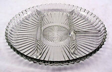 "Clear Pressed Molded Glass Divided Party Serving Platter Dish - 10"" inches Wide"