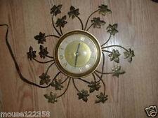 Vintage United Leaf Sunburst Style   Wall Clock Gold co