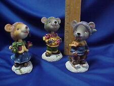 3 Christmas MICE BOBBLEHEAD (Bobble Head) Mouse ADORABLE NEW no boxes