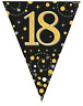 18th Birthday Party Sparkling Age 18 Black & Gold Flag Bunting Banner Decoration