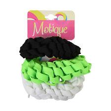 3 Braided Scrunchies Neon Green, White & Black Ponytail Girl's Hair Bobbles