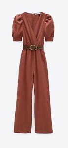 Zara Long Jumpsuit With Belt L